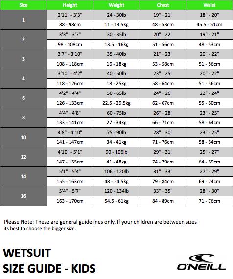 O Neill Wetsuit Size Chart Kids