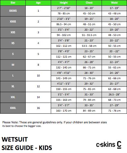 C Skins Wetsuit Size Chart Kids