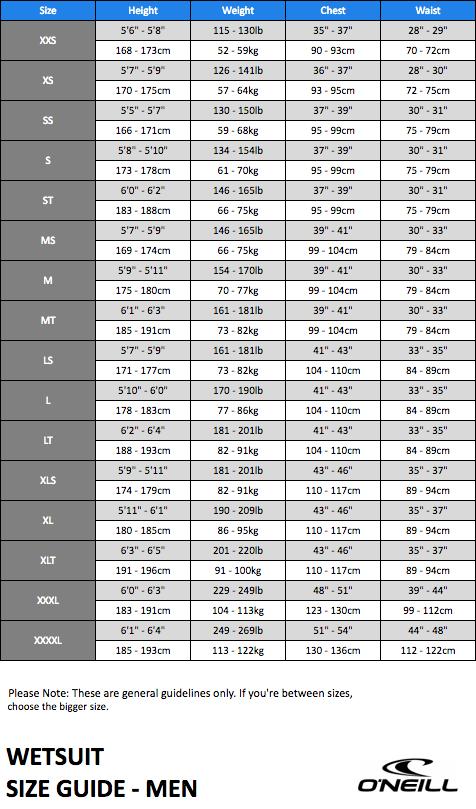 13de10c879 Wetsuit Size Charts Thewaveshack
