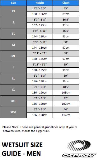 Osprey Wetsuit Size Charts Thewaveshack Com