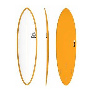 TORQ Funboard Surfboard Thruster Fin Setup 6ft 8 - White / Orange