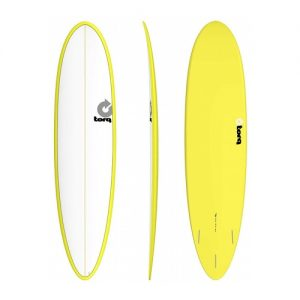 TORQ Funboard Surfboard Thruster Fin Setup 7ft 6 - White / Yellow