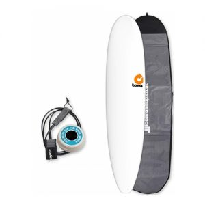 TORQ Longboard Surfboard Thruster Fin Setup 8ft 6 Package - White