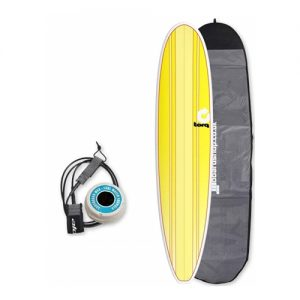 TORQ Longboard Surfboard Thruster Fin Setup 8ft 6 Package - Yellow