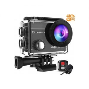 Crosstour 4k Ultra HD Waterproof Action Camera - Black