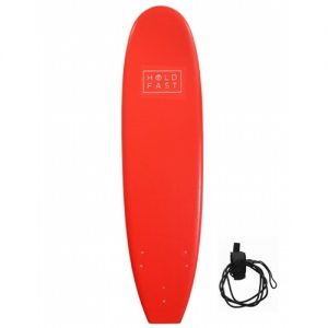Hold Fast Beginner Surfboard Thruster Fin Setup 7ft - Red