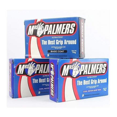 Mrs Palmers Surfboard Wax Triple Pack - Base Coat / Cool Water Top Coat