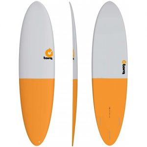 TORQ Funboard Surfboard Thruster Fin Setup 7ft 2 - White / Orange