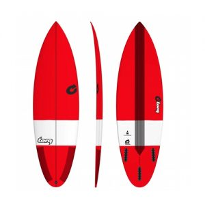 TORQ Shortboard Surfboard Thruster Fin Setup 6ft 3 - Red
