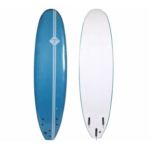 Two Bare Feet Beginner Surfboard Thruster Fin Setup 7ft - Blue