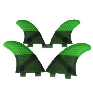 UPSURF Honeycomb Quad FCS Compatible Surfboard Fins - Green
